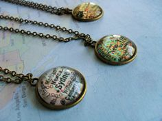 Custom MAP Necklace / Map Pendant / You Pick by BjeweledVintage