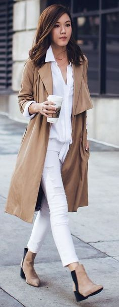 camel and white work outfit