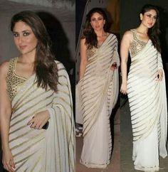 Looking stunning in white saree