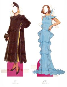 1930s Fashion Paper Doll Printable Digital by mindfulresource