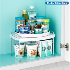 Organize cabinets and find what you need fast with a Lazy Susan that makes the most of vertical space. Adjustable supports create storage room underneath the turntable. On top, the Lazy Susan organizer holds more items with a lipped tray that keeps bottles and cans in place. A stainless steel mechanism ensures smooth, effortless rotation. Nonslip feet provide stability. Made to fit standard cabinets, this elevated turntable also works on countertops, in pantries, at coffee stations, and more! Small Space Organization, Closet Organization, Storage Room, Kitchen Storage, Shelf Hooks, Shelves, Ancient Harvest, Reach In Closet, Container Store