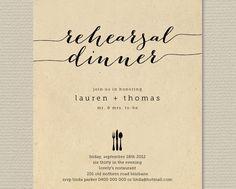 Printable Wedding Rehearsal Dinner Invitation - Rustic Background with black  (RD20). $18.00, via Etsy.