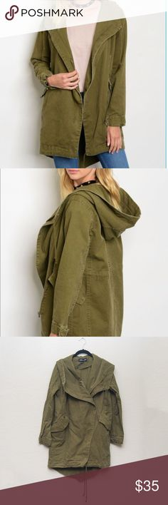 Cookie Couture Army Green Oversized Utility Jacket Cookie Couture army green oversized utility/cargo jacket with asymmetrical zipper closure, large lapels, hood, and drawstring bottom.  New with tags.  Size: Medium  **Open to offers! Cookie Couture Jackets & Coats Utility Jackets