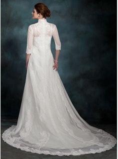 Corte A/Princesa Cola capilla Satén Vestido de novia (002011517) - JenJenHouse