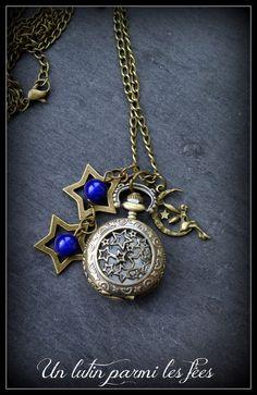 Sautoir mini-montre à gousset étoiles et fée couleur bronze, thème night fairies