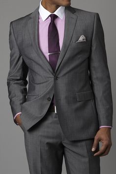 Gray Suit, Lavender Dress Shirt, Purple Necktie | Men's Fashion & Style | Shop Menswear, Men's Clothes, Men's Apparel & Accessories at designerclothingfans.com | Find Sport Coats, Blazers, Suits, Shirts, Polos, Pants/Trousers and More...