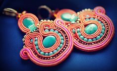 Turquoise stones,seed beads,soutache