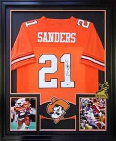 d7eaeafd9 Barry Sanders Framed Jersey Signed Mounted Memories COA Autographed  Oklahoma State Mister Mancave http