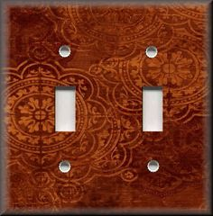 Light Switch Plate Cover -  Old World - Tuscan Medallions - Spice Orange - Decor