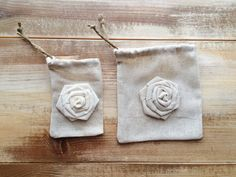 Set of 12-Natural Cotton Favor Bags With Rosetted--2 Sizes Available --by theartsyhippie || #gardenwedding #natural #favorbags
