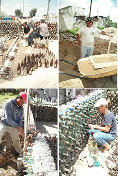 Casa con botellas en México - Fotos de Mario Alberto Tapia Retana Bottle Wall, Pet Bottle, Earthship, Brick Projects, Bamboo Art, Bottle Garden, Building Systems, Earth Homes, Eco Friendly House