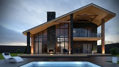View full picture gallery of Shalet Modern Barn House, Modern Bungalow House, Modern House Design, Modern House Plans, Mountain Home Exterior, Mountain House Plans, Chalet Design, Loft Design, Sims House