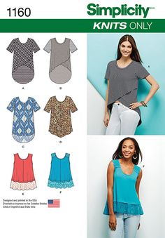 Purchase Simplicity 1160 Misses' Knit Tops and read its pattern reviews. Find other Tops, sewing patterns...
