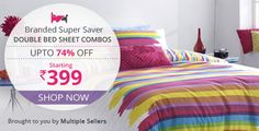 Upto 74% Off on Branded Double BedSheet Combos Starting @ Rs.399
