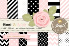 Black and Pink Digital Paper Clipart by JennyL Designs on @creativemarket