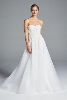 Stay true to your wanderlust heart in Karlie - an ethereal A-line wedding dress that features cascading floral paillette embroidery and an off the shoulder corset bodice. Anne Barge, Style Karlie, Size 8, MI, P6150 Anne Barge Wedding Dresses, Wedding Dress Styles, A Line Bridal Gowns, Strapless Gown, Bridal Collection, Couture Fashion, Bridal Style, Stay True, Ethereal
