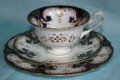 Vintage Shelley Colbalt Blue, with Gold.Fine bone china Teacup & saucer plate trio,via ebay