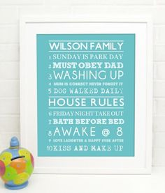 Family House Rules Print   Personalised by Cloud2Print