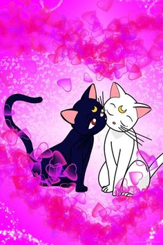 Luna and Artemis iPhone wallpaper<br> Sailor Moon Crystal, Sailor Moon Cat, Cute Wallpaper Backgrounds, Cute Wallpapers, Iphone Wallpaper, Luna Et Artemis, Manga, Sailor Moon Wallpaper, Kids In Love