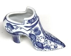 Vintage Blue and White Porcelain Shoe from China by PastPrezence