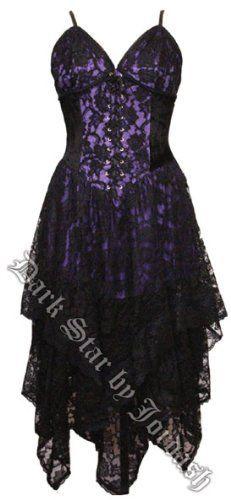 Womens Long Black Purple Dress Corset Goth Lace Satin Witch Pagan Size