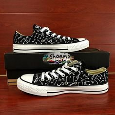 Converse All Star Low Top Shoes Painted Musical Note Custom Sneakers