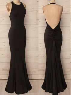Open Back Mermaid Black Chiffon Prom Dresses Floor Length Women Dresses by prom dresses, $147.00 USD