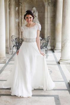 Stunning Grecian-Inspired Gown - Modest Wedding Dress #themodestbride http://www.pinterest.com/modestbride/boards/