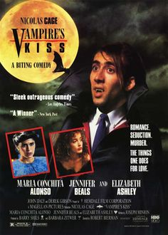 Vampire's Kiss , starring Nicolas Cage, Maria Conchita Alonso, Jennifer Beals, Elizabeth Ashley. After an encounter with a neck-biter, a publishing executive thinks that he's turning into a vampire. #Comedy #Fantasy #Horror