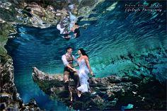 Trash The Dress in a cenote - Mexico