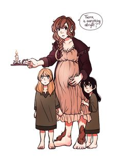 Pregnant fem bilbo with baby fili and kili