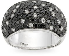 Zoccai- 18 kt. white/black gold ring with 1.32 ct. of black diamond and 0.40 ct. of diamond