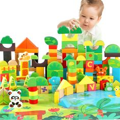 49.77$  Watch here  - Forest Animals 100PCS Blocks Girls 1-6 years Educational Baby Toys Environmental Protection Wooden Children Creature Boy Toy