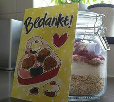 Havermout spelt kokoskoekjes met cranberries. Alle droge ingrediënten in een weckpot, leuk bedankje voor Bijv de juf