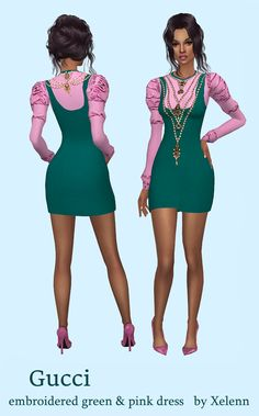 Gucci embroidered green&pink dressNew mesh - 1 swatch - base game DOWNLOAD or from - my blog