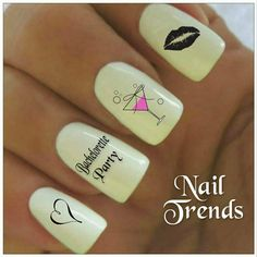 Bachelorette Party Nail Decals, Vinyl Nail Decals, Nail Stickers, Bachelorette Nails, Nail Art, Wedding Nail Decals, Girls Night Out Nails