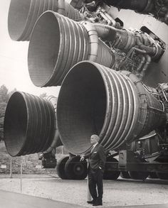 Dr. Werner von Braun stands by the five F-1 engines of the Saturn V Dynamic Test Vehicle on display at the U.S. Space & Rocket Center in Huntsville, Alabama c. 1969