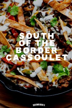This south of the border skillet recipe will quickly become one of your favorite delicious dinner recipes. It features savory Jalapeno & Bacon beans, crispy tortilla strips, and fajita chicken or beef. YUM! Grilled Chicken Fajitas, Easy Chicken Fajitas, Chicken Fajita Recipe, Easy Chicken Recipes, Baked Beans With Bacon, Stuffed Jalapenos With Bacon, Jalapeno Bacon, Stuffed Peppers, Slow Cooker Fajitas