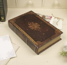 Antique Vintage Style Secret Storage Book Boxes for Bills, Receipts and Letters 26 x 17 x 4.5cm: Amazon.co.uk: Kitchen & Home