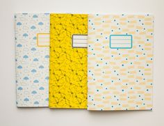 Pack of 3 custom notebooks - School supplies - Back to school -  10 patterns available. €18,00, via Etsy.