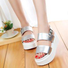 Encontrar Más Sandalias Información acerca de Zapatos de mujer 2015 abierto Toe plataforma mujeres de las sandalias de las Summmer gladiador Trifle plata de la mujer zapatos blanco negro 888, alta calidad Sandalias de Fashion Forward International Trading Co., Ltd. en Aliexpress.com