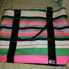 Large colorful beach tote! Summery stripes with navy blue detailing! Used a few times but in perfect condition! Merona Bags Totes
