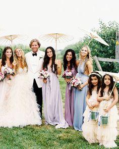 casual reception photos - love the bridesmaid dresses too
