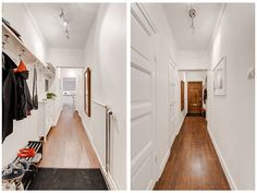 Long narrow hallway. My hallway is 1 meter wide and 7 meter long... Like the solution to the left.   Långsmal hall