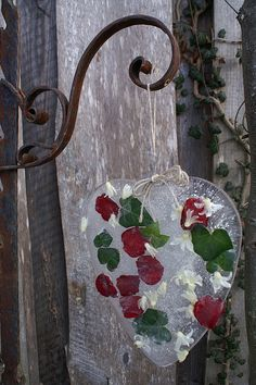 Ice Heart with flowers, petals and ivy! Beautiful for winter - Christmas or Valentine's Day