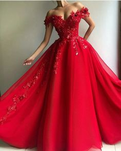 Sexy Red A-Line Prom Dresses Tulle Evening Dress Long Slit Party Gowns Cheap sold by downdress. Shop more products from downdress on Storenvy, the home of independent small businesses all over the world. Red Gown Dress, Tulle Prom Dress, Tulle Lace, Red A Line Dress, Red Ball Gowns, Ball Gown Dresses, Red Gowns, Red Wedding Gowns, Dresses Dresses