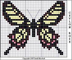 Ceylon Rose Butterfly Graph - for crochet butterfly
