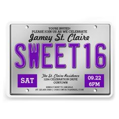 Purple License Plate Sweet 16 Party Invitations