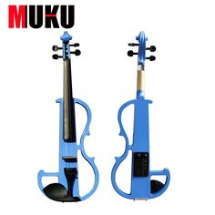 Handmade  4/4 BlUE  violin electric violin with power lines and violin parts with high quality and bag
