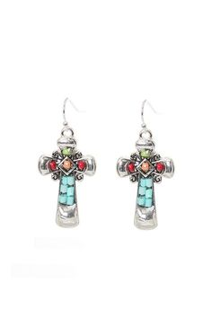 """What better way to show your faith than to wear these stunning Aztec cross earrings.These hook style silver tone earrings have blue, green, red and orange glass beads in a mosaic design.    Approx. 1 1/2"""" in length and 3/4"""" wide.   Aztec Cross Earrings by Mimi's Gift Gallery. Accessories - Jewelry - Earrings Kentucky"""